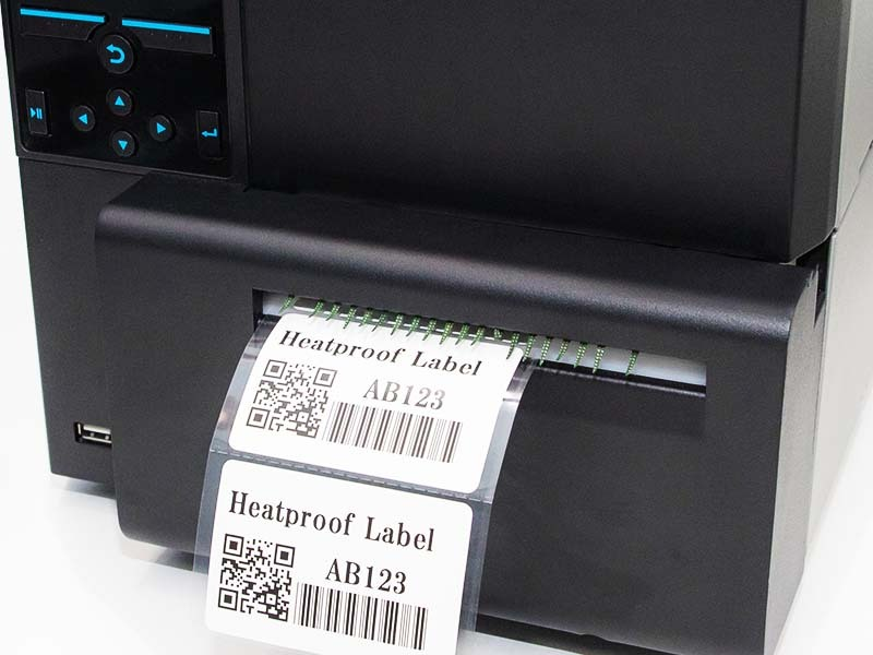 Heatproof labels tags are printed using standard inexpensive thermal transfer printers print variable information quickly and easily